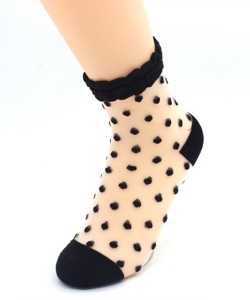 12 Pairs Polka Dots See-Thru Socks SO300006