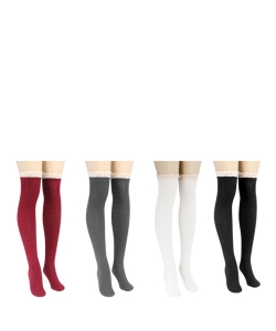 12 Pairs Comfy Lace Trim Knit Thigh High Boot Socks SO350009