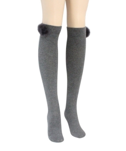 12 Pairs Fur Pom Knee High Tights Socks  SO400031