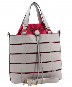 Two tone Drawstring Tote Bags SS1079 LGRAY