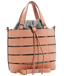 Two tone Drawstring Tote Bags SS1079 PINK