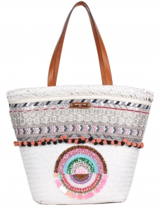Nicole Lee Bohemian Straw Tote Bag