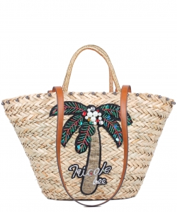 Nicole Lee Coconut Tree Straw Tote Bag STR12675
