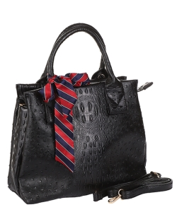 2 In1  Ostrich Pattern Satchel W/ Scarf T-200 BLACK