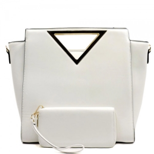 Vegan Leather Handle Satchel and Wallet Set T1867 White