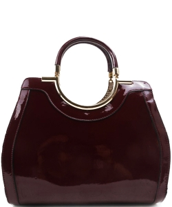 Fashion Handbag Embossed Glossy T2467 WINE