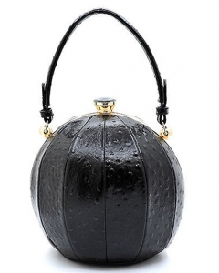 Fashion Faux Leather Ostrich Handbag Ball Shaped TB705 BLACK