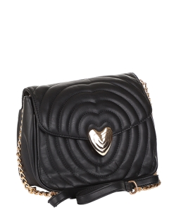 Chevron Embossed Heart Lock Emblem Crossbody Bag TI-808 BLACK