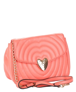 Chevron Embossed Heart Lock Emblem Crossbody Bag TI-808 CORAL