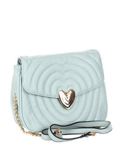 Chevron Embossed Heart Lock Emblem Crossbody Bag TI-808 MINT