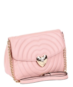 Chevron Embossed Heart Lock Emblem Crossbody Bag TI-808 PINK