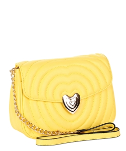 Chevron Embossed Heart Lock Emblem Crossbody Bag TI-808 YELLOW