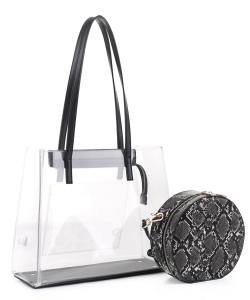 Clear Tote With Snakeskin Round Clutch Bag TS20026 BLACK