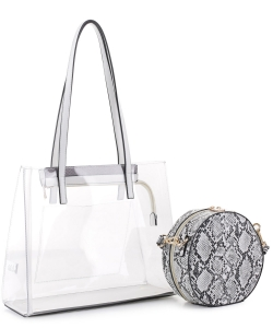 Clear Tote With Snakeskin Round Clutch Bag TS20026 WHITE