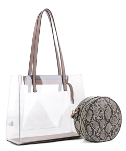 Clear Tote With Snakeskin Round Clutch Bag TS20026 TAUPE