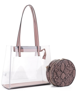 Clear Tote With Snakeskin Round Clutch Bag TS20026 BLUSH