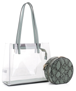 Clear Tote With Snakeskin Round Clutch Bag TS20026 MINT