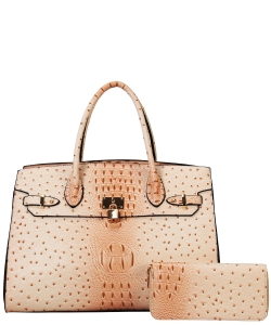 Fashion Faux Croc Handbag + Wallet TU6726WBIEGE