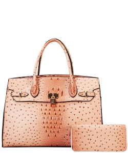 Fashion Faux Croc Handbag + Wallet TU6726WBLUSH