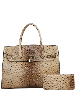 Fashion Faux Croc Handbag + Wallet TU6726WTAUPE