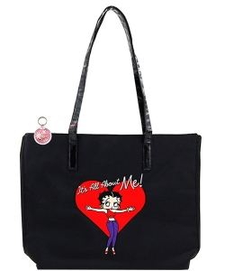 Betty Boop Travel Tote Bag with Embroidered Betty Boop VB110 Black