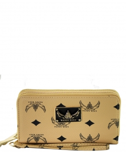 WK Collection Trendy Designer Fashion Wallets W1008 APRICOT
