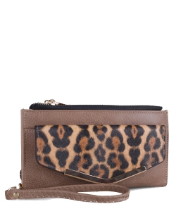 Faux Leather Leopard Print Wrislet Wallet W1476A Taupe/Brown