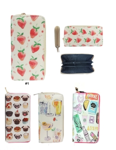 DESIGNER SWEETS ILLUSTRATION SINGLE ZIP AROUND  12 PIECE SET WALLET WA007