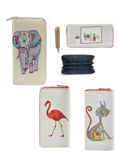 DESIGNER BOHO ILLUSTRATION SINGLE ZIP AROUND  12 PIECE SET WALLET WA003