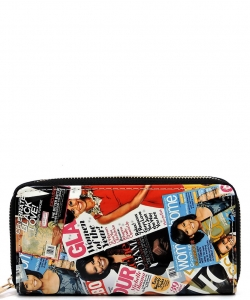 Magazine Cover Collage Zip Wallets WA0038 BLACK