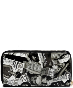 Magazine Cover Collage Zip Wallets WA0039 BLACK/WHITE
