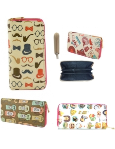 DESIGNER VINTAGE ILLUSTRATION SINGLE ZIP AROUND  12 PIECE SET WALLET WA006