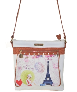 Bora Bora USA Cross Body Fashion Print Purse Handbag WHITE
