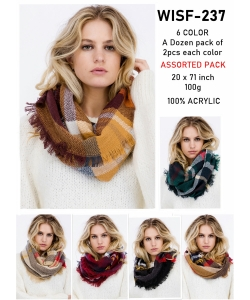 Pack of 12 Pcs Assorted Color Plaid Pattern Infinity Scarves WISF237