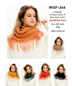 Pack of 12 Pcs Assorted Color Fringe Infinity Scarves WISF244