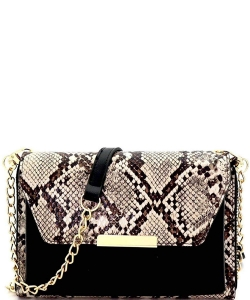 Leopard Snake Vegan Leather Cellphone Holder Compartment Wallet Clutch Crossbody WL1182 SNAKE TAUPE