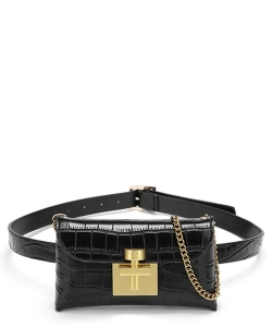 Crocodile Skin Convertible Waist Bag Crossbody WP003 BLACK