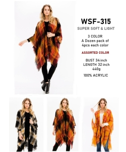 12 pcs of Assorted Color Plaid Fringe Poncho WSF-315