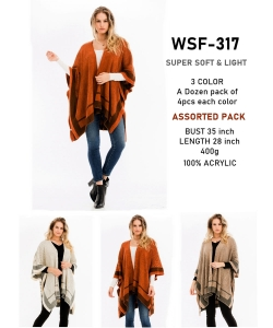 12 pcs of Assorted Color Detailed Stripe Poncho WSF-317