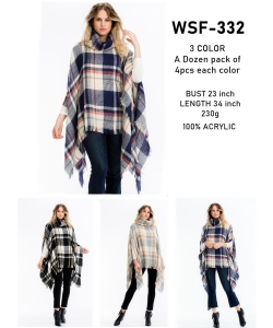 12 pcs of Assorted Color Chic Plaid Fringed Poncho  WSF-332