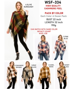 12 pcs of Assorted Color Fringe Plaid Pattern Poncho  WSF-334