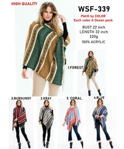 12 pcs of  Fringed Tribal Poncho WSF-339