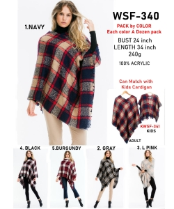 12 pcs of  Trendy Plaid Pattern Poncho WSF-340