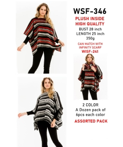 12 pcs of  Multi Tone Stripe Poncho WSF-346