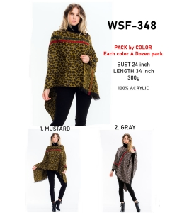 12 pcs of  Stripe Accent Leopard Poncho WSF-348