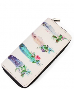 Riah Fashion Women's Feather Flower Print Zipper Wallet WT326X048