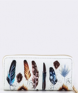 FEATHER PRINT WALLET WHITE WT377X097