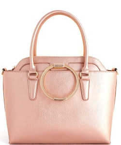 2in1 Modern Stylish Satchel with Long Strap WU-1004 ROSEGOLD