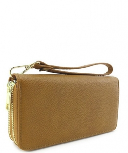 Double Zip Around Wristlet Wallet WU0002 ALMOND