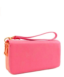 Double Zip Around Wristlet Wallet WU0002 FPINK